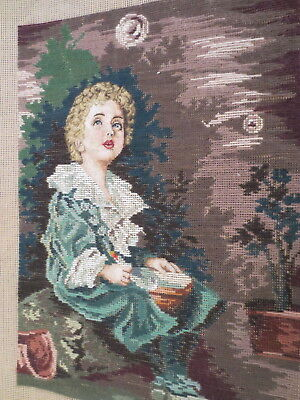 Tapestry Petite Point Stitching & Long Stitch Boy In Blue Night Sky
