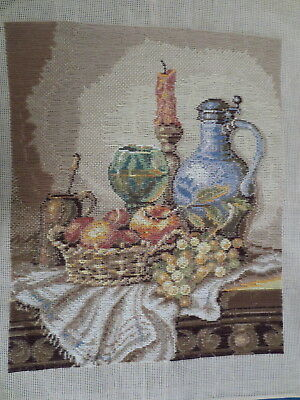 Tapestry Petite Point Stitching & Long Stitch Still Life Picture Fruit