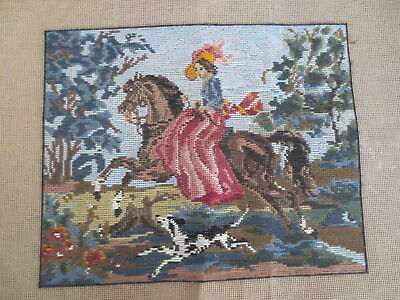 Tapestry Petite Point Stitching & Long Stitch Victorian Lady On Horse With Dog