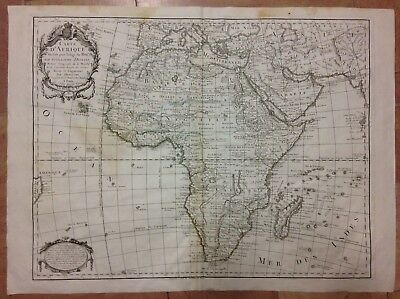 AFRICA DATED 1787 G. DE L'ISLE LARGE ANTIQUE ENGRAVED MAP 18e CENTURY