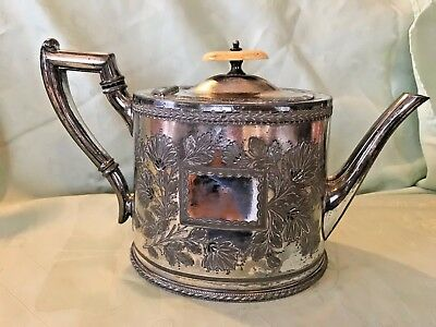 EXQUISITE ANTIQUE ORNATE SILVER PLATED TEAPOT ATKIN BROS c1853 SHEFFIELD