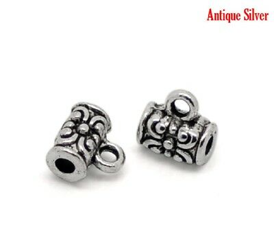 10-20 Antique Silver Alloy Bails Beads Flower Pattern 7x4mm(B00433)