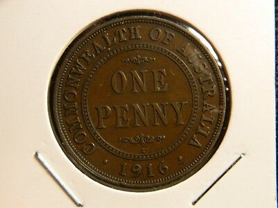 1916 AUSTRALIAN PENNY (6 Pearls, tidy coin, problem free)
