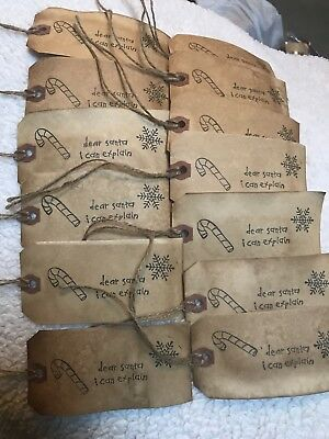 "Large Primitive "" Dear Santa  "" Hang Tags Lot Of 12 Coffee Stained"