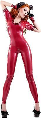 Westward Bound Skyllaxis Latex Catsuit Pearl Sheen Red with Black Trim