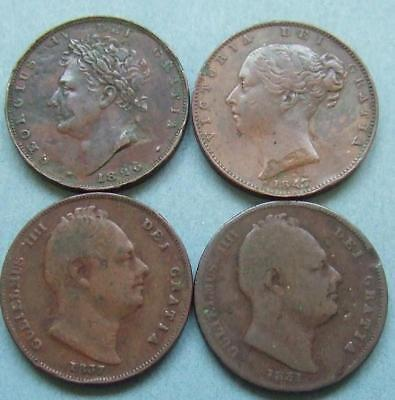 George lV, William llll, Victoria - 4 Farthings........D9