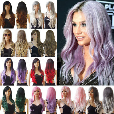 UK Ombre Pink Purple Red Full Wig Curly Straight Wavy Long Wigs Cosplay Party AQ