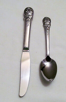 """Vintage Oneida Child's Knife and Spoon - """"Humpty Dumpty"""" Pattern - Stainless"""