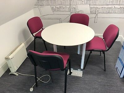 Office Round Meeting Tables With Chairs - 2 Sets Available At £60 Each