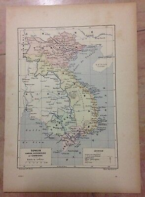 TONKIN ANNAM COCHINCHINE CAMBODIA by PERRIN XIXe CENTURY ANTIQUE ENGRAVED MAP