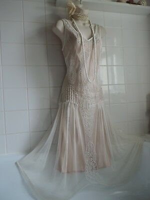 TOGETHER sz14 Vintage ivory beaded DRESS 1920's style gatsby charleston flapper