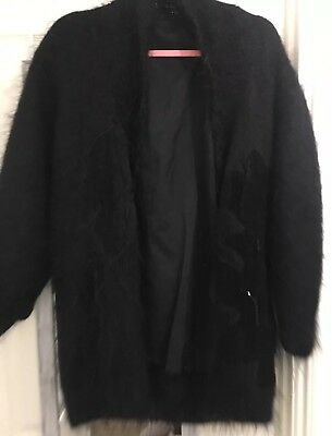 Vintage Size 18-20 Black Mohair Cardigan , Jacket , 80s , Beaded