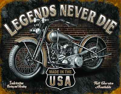 "Tin Sign- ""LEGENDS- Never Die ""- Garage & Harley Motorcycles Wall Decor Man Cave"