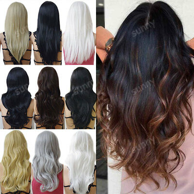 Ladies Fashion Cosplay Long Hair Curl Straight Wavy Full Wig White Blonde Red aw