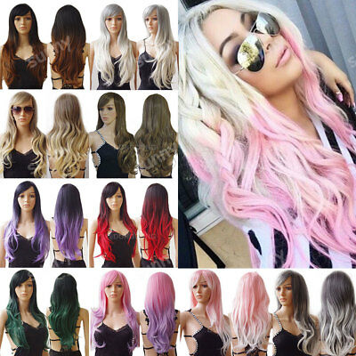 100% Real Thick Women Long Hair Full Wig Curly Straight Ombre Pink White Cheap a