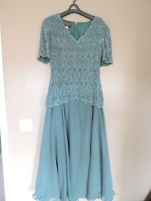AFTER SIX sz10 Vintage 1920's style teal green beaded DRESS gatsby long evening