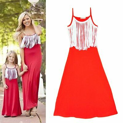 Daughter and Mother Clothes Fashion Tassel Decorate Sling Red Family Dress WM