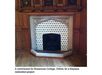 Arts And Crafts William Morris Daisy Fireplace Tiles Kiln Fired Set Of 10 Tiles