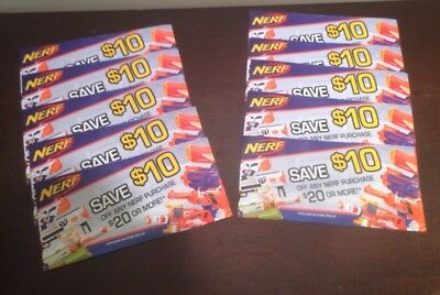 NERF Coupon $10 Off $20 Purchase exp 12/31 Lot Of 10