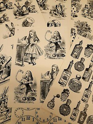 VINTAGE ALICE IN WONDERLAND A4 DECOUPAGE DECOPATCH CARD MAKING PAPER 7 Designs