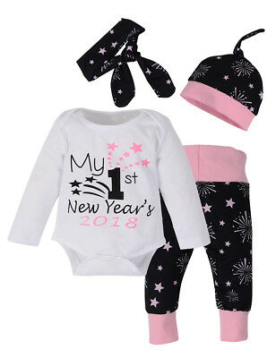 4pcs/Set Newborn Girl First New Year Christmas Cotton Suit Round Collar Tops +