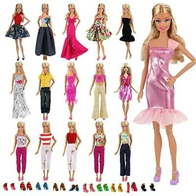5 Sets Fashion Casual Wear Clothes Outfit Handmade 10 Pair Shoes for Barbie Doll