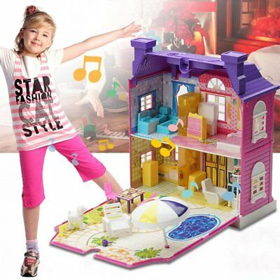 Girls Doll House Play Set Pretend Play Toy for Kids Pink Dollhouse Children Hx