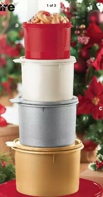 New! Tupperware 4 piece STACKING CANISTER SET gold, silver, white, red holiday