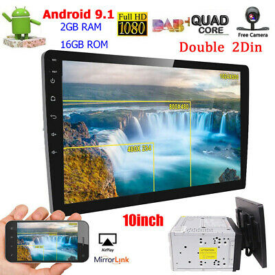 """2 Din Android 8.1 Car indash Player GPS 10.1"""" HD Stereo Radio Unit WIFI W/Cam"""