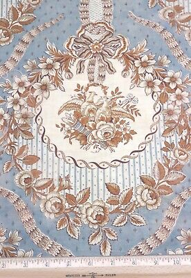 """Vintage French Blue & Tan """"Marie Antoinette"""" Style Toile Fabric~L-65""""X W-31"""""""