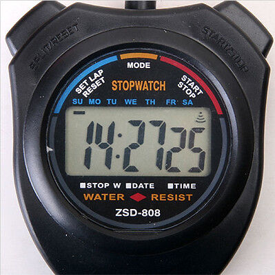 LCD Digital Handheld Chronograph Stopwatch Stop Watch Timer Counter with StrapHV
