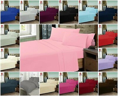 Poly-Cotton Duvet Quilt Cover Plain Dyed Percale Bedding Size Single Double King