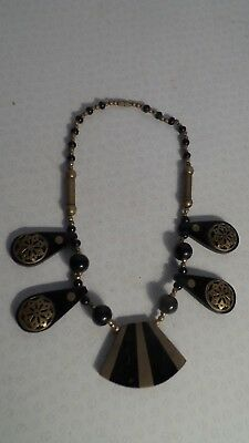 ART DECO inlaid brass and HORN EGYPTIAN REVIVAL NECKLACE