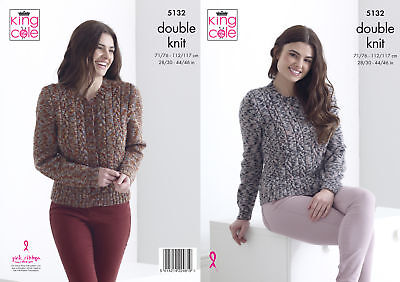 ca57af07465447 Womens Double Knitting Pattern Ladies Cabled Jumper   Cardigan King Cole DK  5132