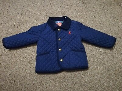 Baby boys navy blue quilted Joules coat age 6-9 months