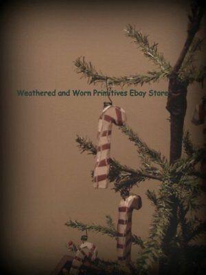 """Primitive Wooden Distressed Candy Cane Christmas Tree Ornaments 2.75""""  * Set 6"""