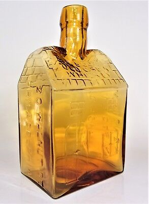 Yellow E G BOOZ'S OLD CABIN WHISKEY PHILADELPHIA Crude Tooled Top Clevenger Bros