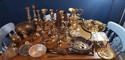 A Large Job Lot Of Vintage Brass Items.7 Kgs In Weight.
