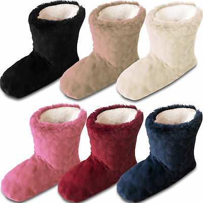 Ladies Womens Winter Warm Embossed Soft Cosy Fleece Lined Slipper Boot Boots
