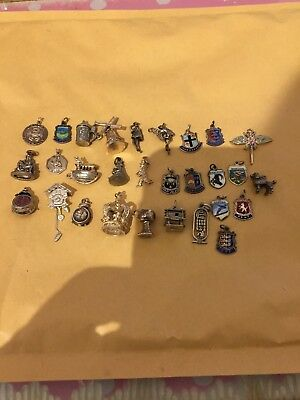 Very Large Lot Of 30 Silver  Charms Look At All Photos Please