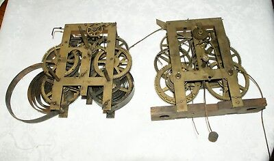 2 x Antique  (USA?) Clock Movements, Spares/Repair