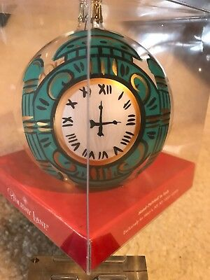 """Vintage Marshall Field's Christmas - Clock  4"""" Round Ornament Hand Painted Italy"""