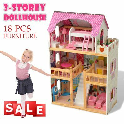3 Storey Wooden Kids Doll House 18 Furniture Accessories Miniature Dollhouse Toy