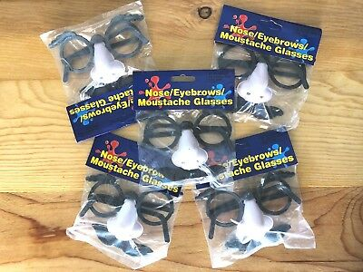 Funny Nose Eyebrows Moustache & Glasses Child Size Lot of 5 Plastic NIP