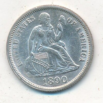 1890 Seated Liberty Silver Dime-Outstanding Uncirculated Dime!! Ships Free!