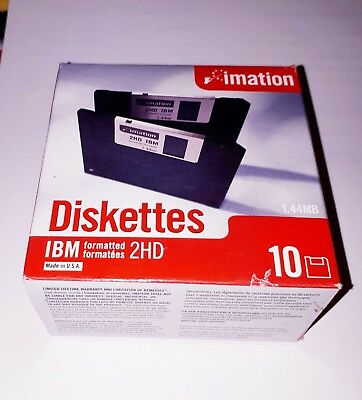 """FLOPPY DISKS 3.5""""  2HD Imation  IBM Formatted 144MB~ SEALED 10 Pack  Made In USA"""