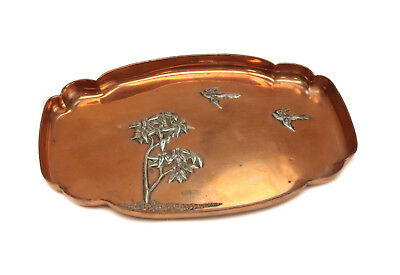 Gorham Mixed Metal Silver and Copper Aesthetic Movement Tray #E63, 1883