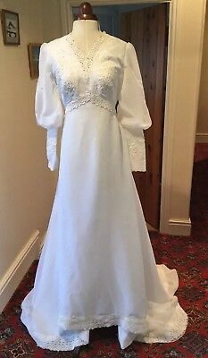 VINTAGE 1960's/70's WHITE CHIFFON WEDDING DRESS WITH TRAIN