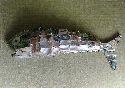 Vintage Abalone Mother of Pearl Articulated Silver Fish Bottle Opener