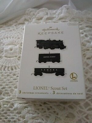 NIB 2010 Hallmark Keepsake LIONEL Scout Set 3 Miniature Ornaments NIB